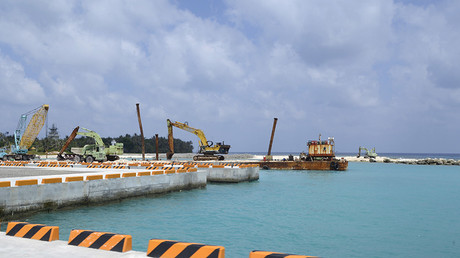 A construction site of a pier, in Itu Aba, which the Taiwanese call Taiping, at the South China Sea, March 23, 2016. © Fabian Hamacher