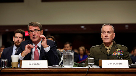 US Defense Secretary Ash Carter and Chairman of the Joint Chiefs of Staff Joseph Dunford testify before the Senate Armed Services Committee on Capitol Hill in Washington, DC, September 22, 2016 © Yuri Gripas