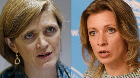 U.S. Ambassador to the United Nations Samantha Power ( © Anindito Mukherjee / Reuters) and Russian Foreign Ministry Spokesperson Maria Zakharova( © Iliya Pitalev / Sputnik)