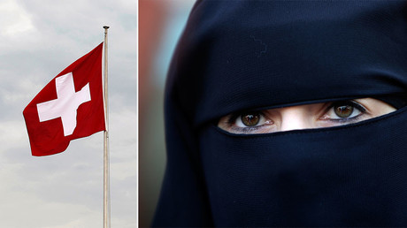 A Swiss national flag (L), a woman wearing burqa. © Reuters
