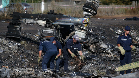 Members of the Ukrainian Emergencies Ministry work at the crash site of Malaysia Airlines Flight MH17, near the village of Hrabove, Donetsk region, July 20, 2014.© Maxim Zmeyev