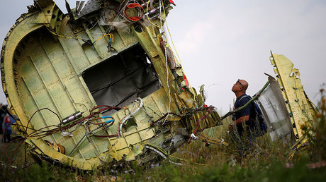 A Malaysian air crash investigator inspects the crash site of Malaysia Airlines Flight MH17, near the village of Hrabove (Grabovo) in Donetsk region, Ukraine, July 22, 2014. © Maxim Zmeyev