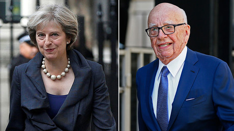 Britain's Prime Minister Theresa May (L) and Media mogul Rupert Murdoch © Reuters