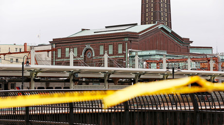 The Hoboken, New Jersey train station, scene of a train crash where a New Jersey Transit train derailed and crashed through the station, injuring more than 100 people, is pictured in Hoboken, New Jersey © Shannon Stapleton
