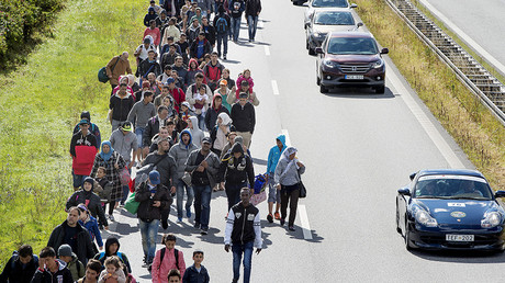 A large group of migrants, mainly from Syria, walk on a highway towards the north of Denmark © Bax Lindhardt