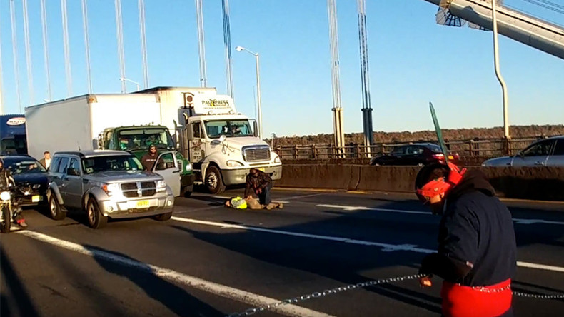 'We are visible': 11 arrested after blocking New York bridge during morning rush hour (VIDEO) — RT America