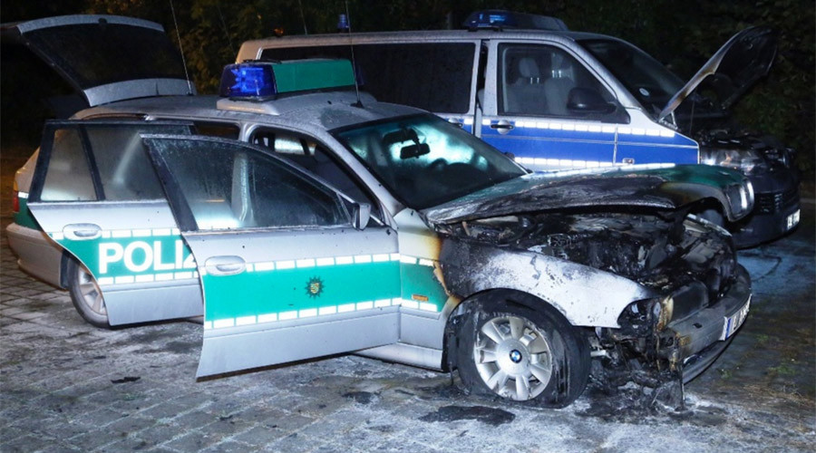 3 police cars set on fire in Dresden, as violence escalates ahead of Germany Unity Day