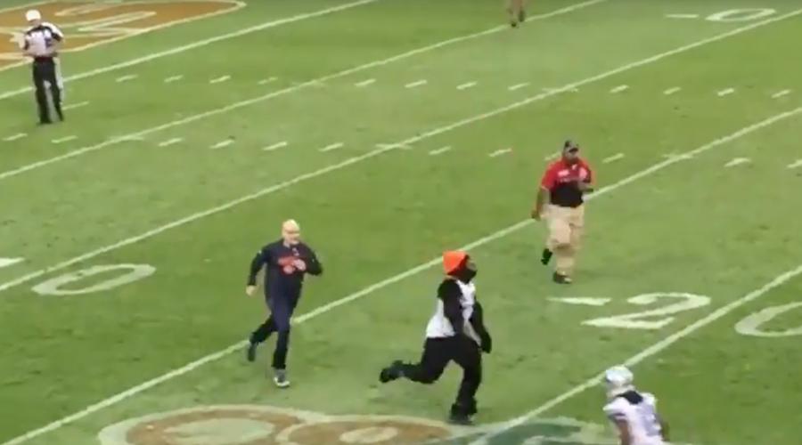 Anti #BlackLivesMatter protester dressed as Gorilla invades field, gets smashed (VIDEO)