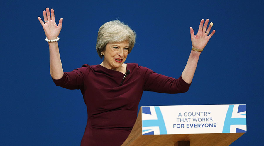 Britain's Prime Minister Theresa May gives her speech on the final day of the annual Conservative Party Conference in Birmingham, Britain, October 5, 2016. © Darren Staples