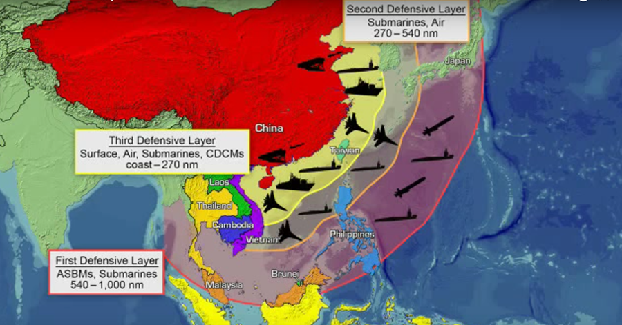 China's anti-access area denial defensive layers © Office of Naval Intelligence