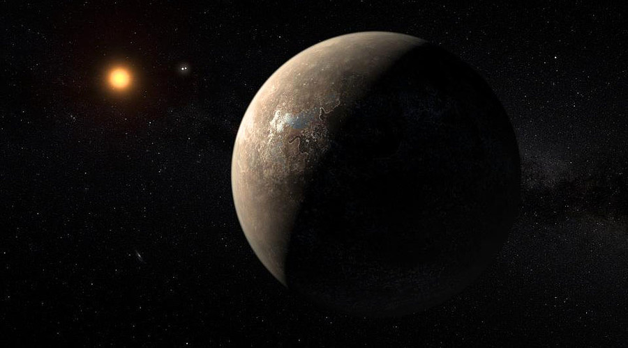 A handout image made available by the European Southern Observatory on August 24, 2016, shows an artist's impression of the planet Proxima b orbiting the red dwarf star Proxima Centauri, the closest star to the Solar System. © M. Kornmesser