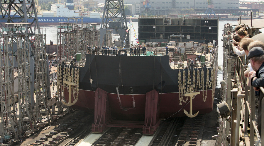The generating unit of the world's first floating nuclear power plant Academician Lomonosov, was launched at the Baltiysky Zavod Shipyard of the United Industrial Corporation (UIC). © Alexei Danichev