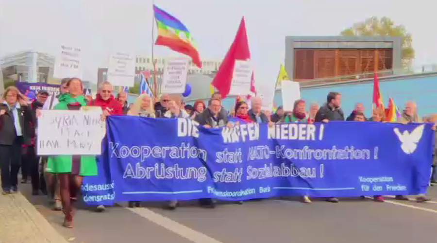 1,000s march for peace, against NATO in Berlin (VIDEO)