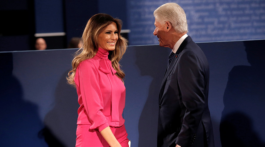 Former U.S. President Bill Clinton and Melania Trump © Mike Segar