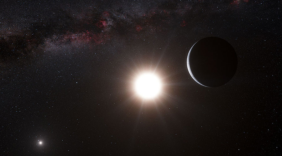 This artist's impression shows the planet orbiting the star Alpha Centauri B, a member of the triple star system that is the closest to Earth. © ESO / L. Calcada / N. Risinger