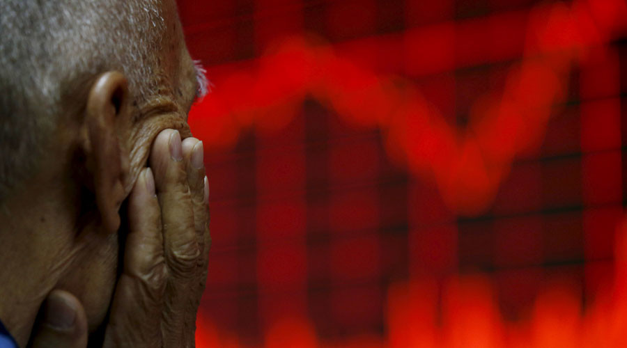 Global stocks down on strong dollar & weak Chinese data
