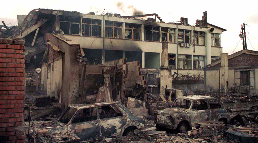 Red Cross office in Pristina, in the southern Serbian province of Kosovo, destroyed by NATO bombing on March 28, 1999 © Goran Tomasevic