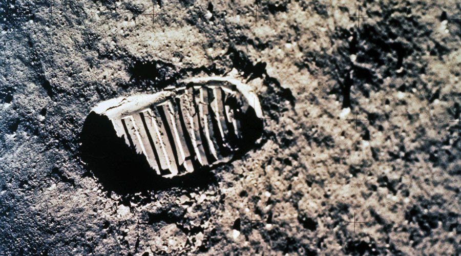 Imprint of one of Buzz Aldrin's first steps on the moon from the Apollo 11 mission with Neil Armstrong in 1969. © NASA