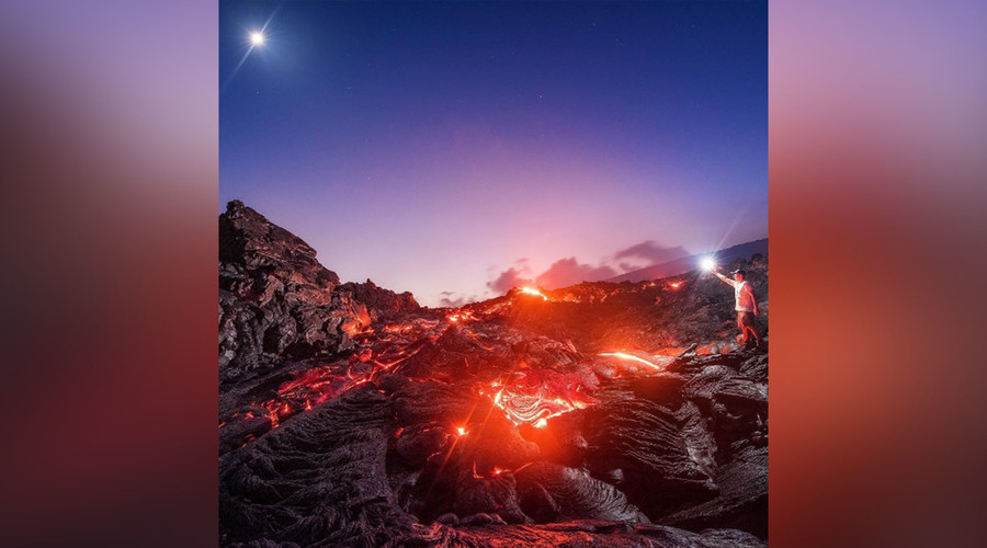 Ethereal images capture meteor speeding over molten lava (PHOTOS)