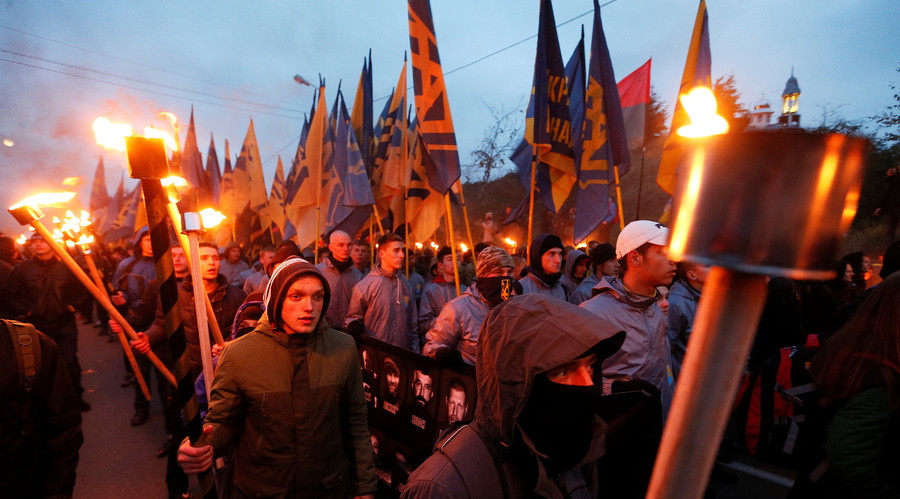 "Activists take part in a rally held by the Ukrainian national guard ""Azov"" regiment and the far-right radical group Right Sector, to mark Defender of Ukraine Day, in Kiev, Ukraine, October 14, 2016. © Gleb Garanich"