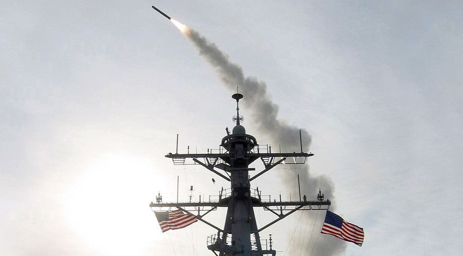 A Tomahawk Land Attack Missile (TLAM) is launched from the guided missile destroyer USS Winston S. Churchill. File photo. © U.S. Navy