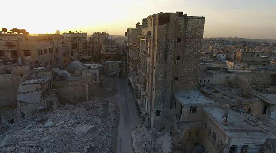 A general view of the bomb damaged Old City area of Aleppo, Syria. © ReutersTV