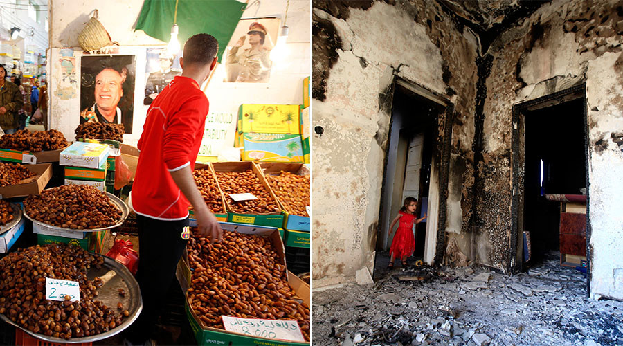 Portraits of Libya's leader Muammar Gaddafi adorn a date seller's stand at a market in the old town of Tripoli (L), A girl stands in the doorway of a home destroyed in battles on Tripoli street in central Misrata (R). © Reuters