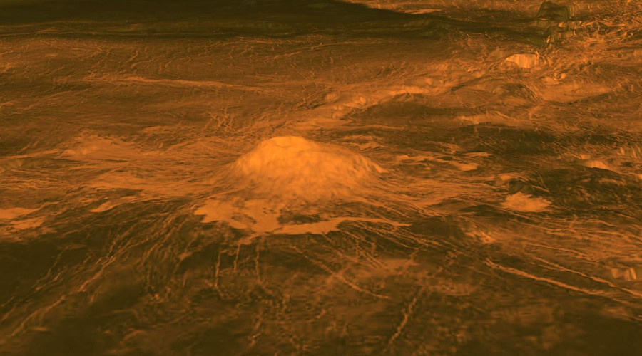 The suspected lava flows were discovered at Idunn Mons. © NASA
