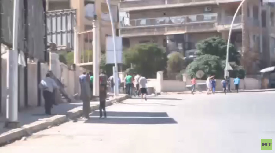 RT crew interviewing locals in Aleppo, Syria, on October 20 2016