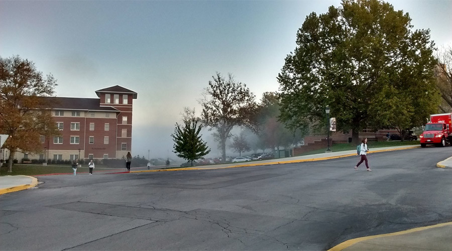 Benedictine College in Atchison, Kansas being evacuated due to chemical spill, October 21, 2016 @ Michael Meixner