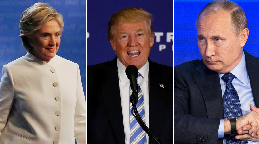 Democratic U.S. presidential nominee Hillary Clinton, Republican U.S. presidential nominee Donald Trump and Russian President Vladimir Putin © Reuters