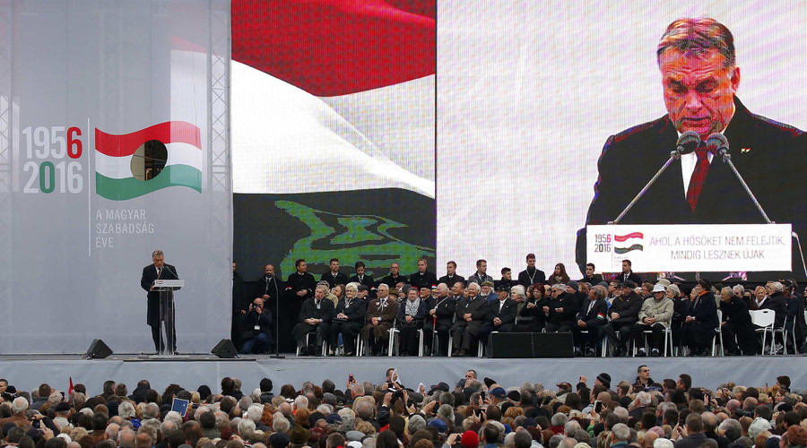 Hungarian Prime Minister Viktor Orban speaks during a ceremony marking the 60th anniversary of 1956 anti-Communist uprising in Budapest, Hungary, October 23, 2016. © Laszlo Balogh