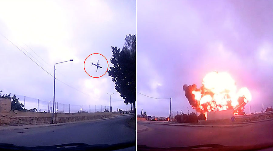 Dashcam captures last seconds of Malta plane before deadly crash (VIDEO)