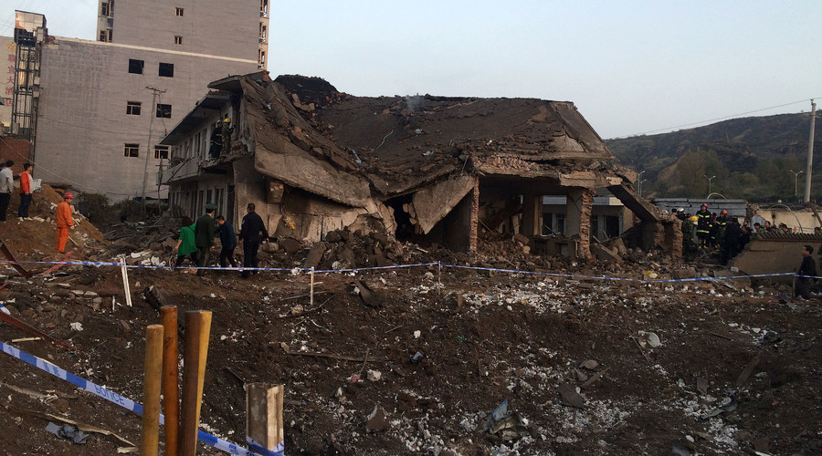 A collapsed house is seen at site after an explosion hit a town in Fugu county, Shaanxi province, China, October 24, 2016. © China Daily