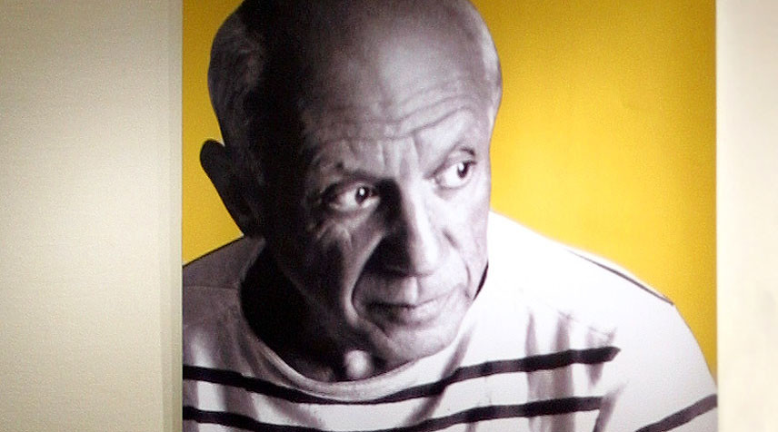 A portrait of artist Pablo Picasso at the exhibition of his black and white prints in Beijing. File photo. © Andrew Wong