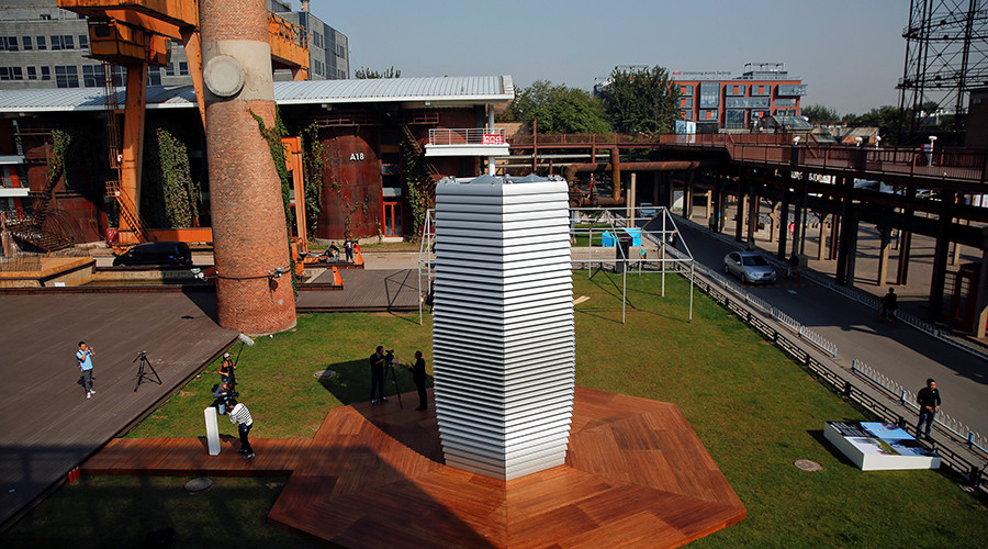 The Smog Free Tower, the world's largest smog vacuum cleaner designed by Dutch artist and innovator Daan Roosegaarde is seen at former industrial zone, now D-751 art district © Damir Sagolj