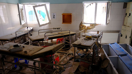 Hospital beds lay in the Medecins Sans Frontieres hospital in Kunduz, Afghanistan on April 26, 2016, about six months after an American airstrike killed dozens of patients, some of whom burned to death in their beds. © Josh Smith
