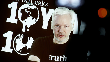 Julian Assange, Founder and Editor-in-Chief of WikiLeaks speaks via video link during a press conference on the occasion of the ten year anniversary celebration of WikiLeaks in Berlin, Germany, October 4, 2016. ©Axel Schmidt