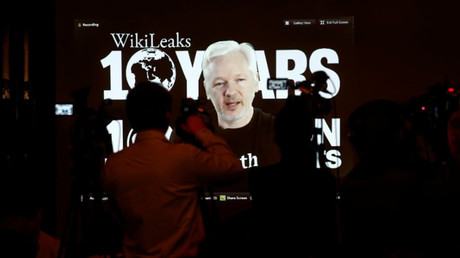 Julian Assange, Founder and Editor-in-Chief of WikiLeaks speaks via video link during a press conference on the occasion of the ten year anniversary celebration of WikiLeaks in Berlin, Germany, October 4, 2016. © Axel Schmidt