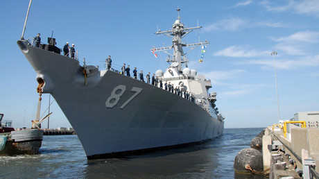 The Arleigh Burke-class guided-missile destroyer USS Mason departs Naval Station Norfolk © Eric S. Garst