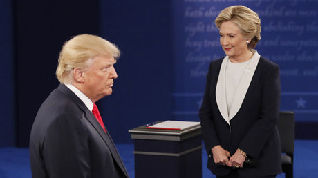 Republican U.S. presidential nominee Donald Trump speaks during the presidential town hall debate with Democratic U.S. presidential nominee Hillary Clinton at Washington University in St. Louis, Missouri, U.S., October 9, 2016. ©Shannon Stapleton