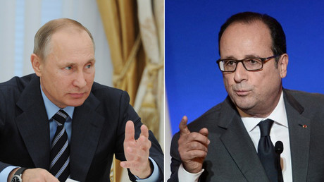 Russian President Vladimir Putin and French President Francois Hollande © Michael Klimentyev / Stephane De Sakutin