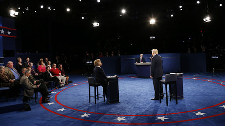 Republican U.S. presidential nominee Donald Trump speaks during their presidential town hall debate with Democratic U.S. presidential nominee Hillary Clinton at Washington University in St. Louis, Missouri, U.S., October 9, 2016. ©Jim Bourg