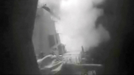 A still image from video released October 13, 2016 shows U.S. military launching cruise missile strikes from U.S. Navy destroyer USS Nitze to knock out three coastal radar sites in areas of Yemen controlled by Houthi forces. ©