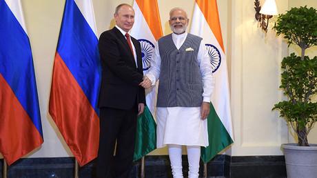 Russian President Vladimir Putin is welcomed by Indian Prime Minister Narendra Modi © Dmitry Azarov