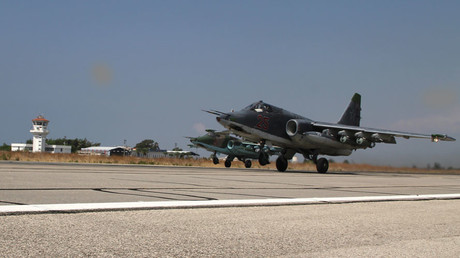 Russian Su-25s take off at the Hmeimim base in Syria. © Dmitriy Vinogradov