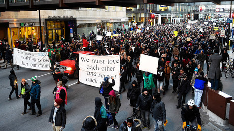 Members of the group Black Lives Matter march to city hall during a protest in Minneapolis, Minnesota November 24, 2015. © Craig Lassig