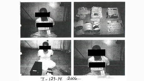 Black strips placed by censors mask the identity of detainees in an undated combination of photos from Iraq's Abu Ghraib prison, among 198 images released in a Freedom of Information Act (FOIA) lawsuit against the U.S. Department of Defense in Washington, DC February 5, 2016 © DoD