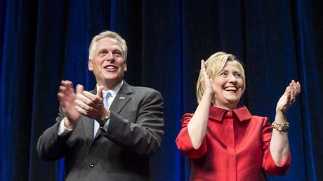 U.S. Democratic presidential candidate Hillary Clinton and Virginia Governor Terry McAuliffe. ©Joshua Roberts