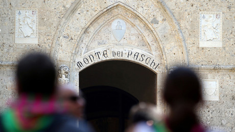 The entrance of Monte dei Paschi bank headquarters, Siena, Italy. © Stefano Rellandini
